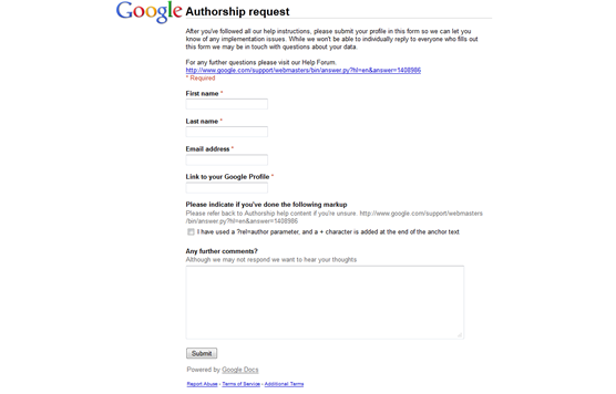 Google Authorship Request
