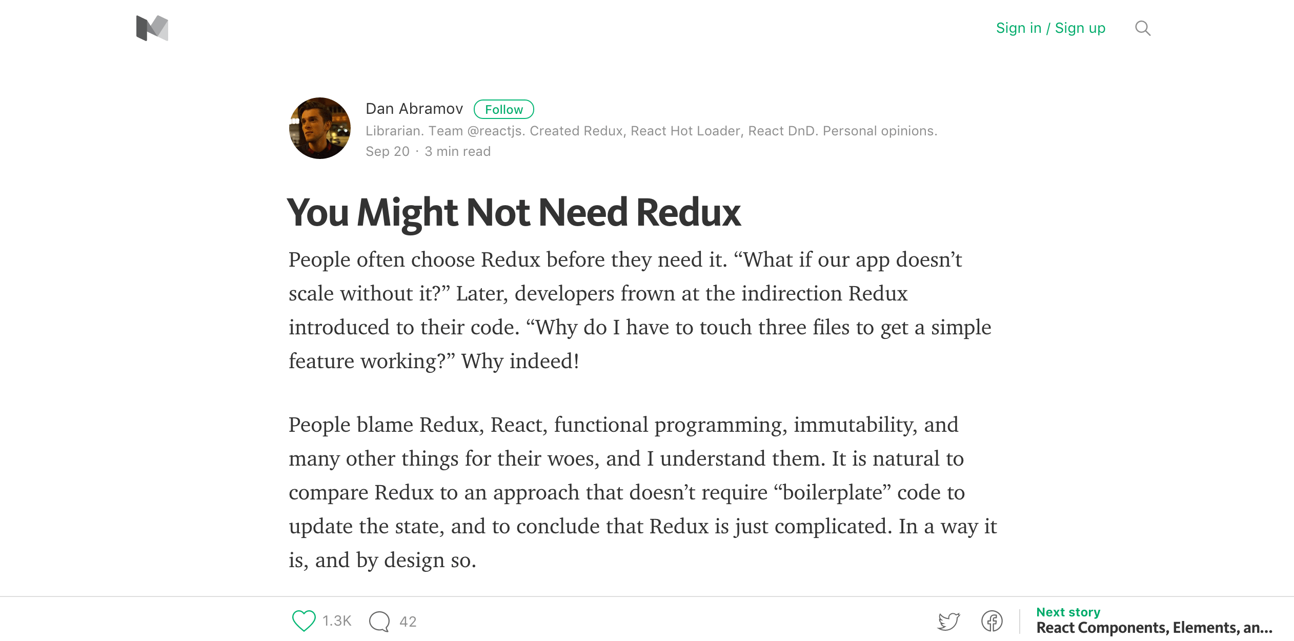 You Might Not Need Redux by Dan Abramov
